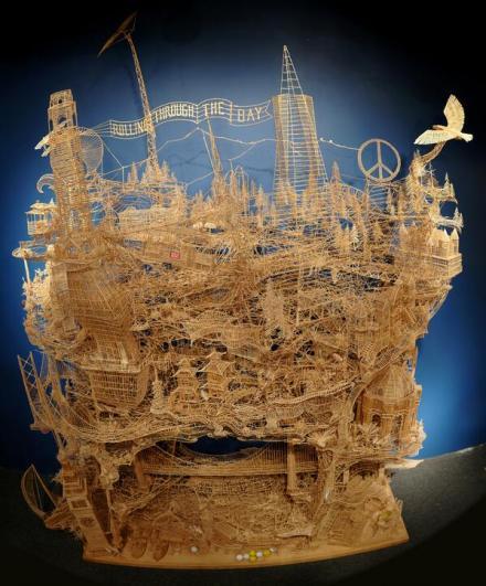 Toothpick sculpture of San Francisco