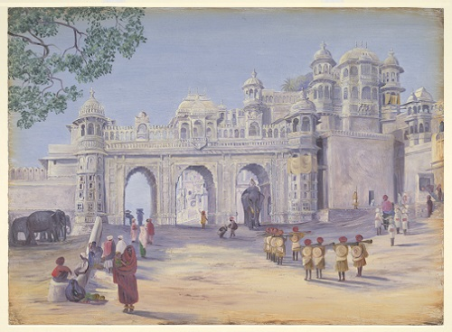 'Gate of City Palace. Udaipur, 1879'