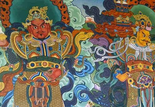 Murals -n Golden Monastery Tibet